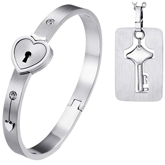 Heart Love Lock Bracelet with Lock Key Pendant Necklace Titanium Steel Bangle Couple Sets Jewelry Stainless Steel Woman Man Metals