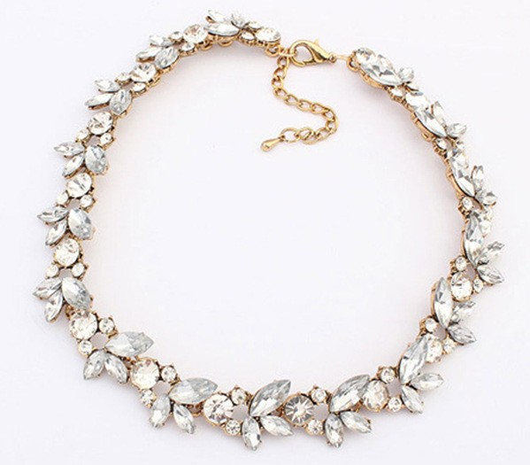 Gold Chain White Gemstone Necklace VGA07007