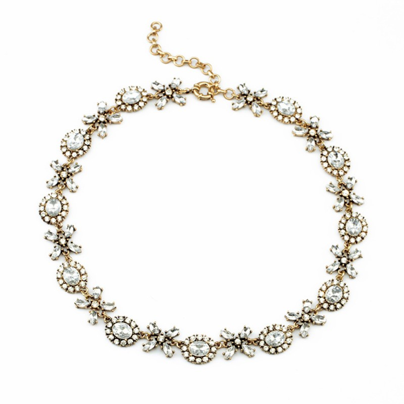 Gold Chain White Gemstone Necklace VGA07013