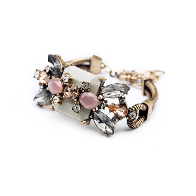 Gold Multicolor Gemstone Bracelet VGA07015