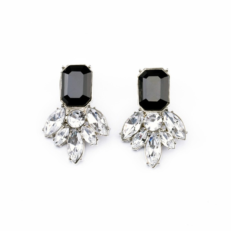 Gemstone Silver Black White Earrings VGA07016