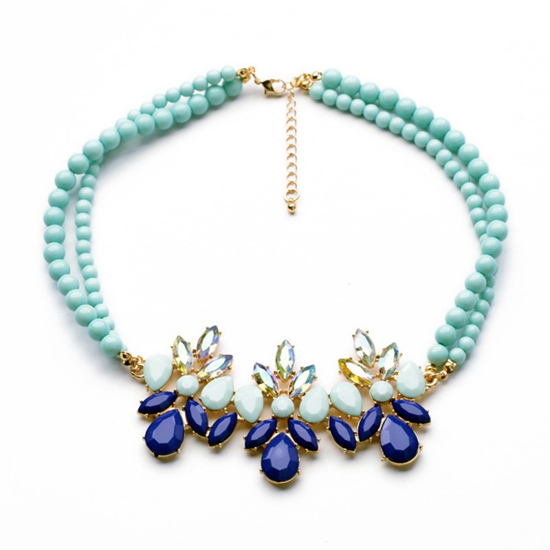 Diamante Multicolor Bead Necklace VGA07017