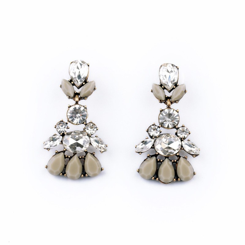 Geometric Crystal Grey White Gemstone Earrings VGA07018