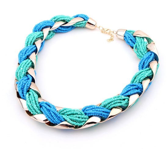 Wide Green Blue Black Necklace VGA07021