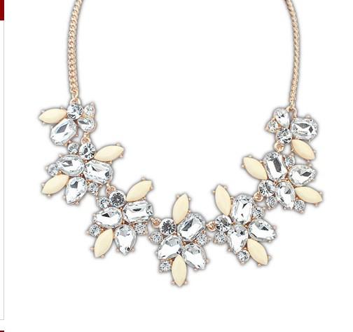 Gold White Gemstone Chain Necklace VGA07025