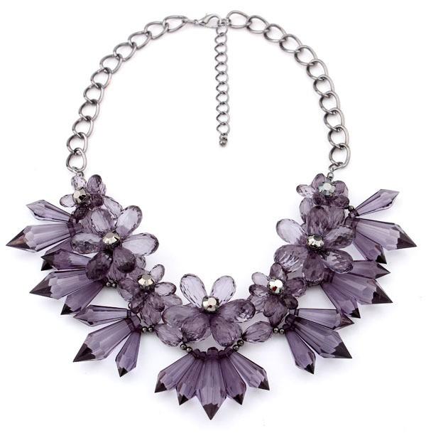 Gemstone Purple Gold Chain Necklace VGA07027