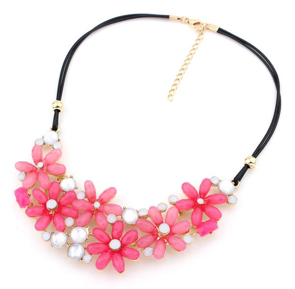 Gold Pink Gemstone Chain Necklace VGA07028