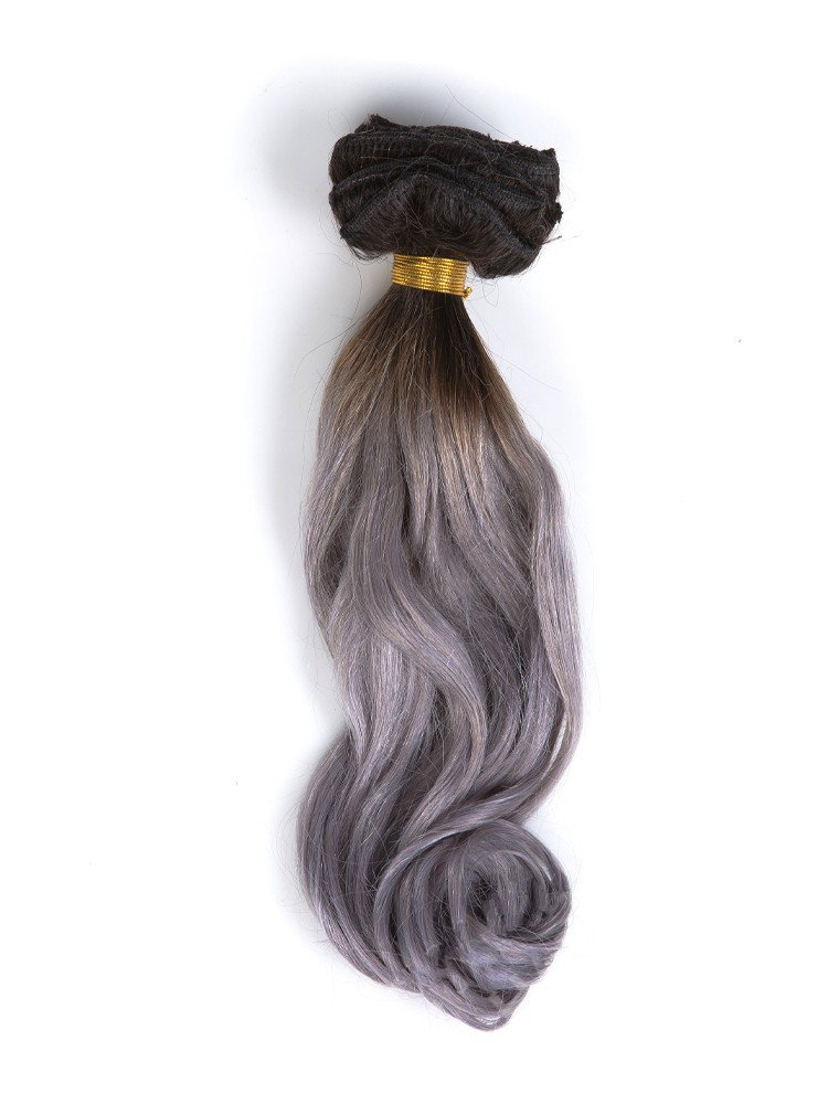 Clip In Black To Silver Ombre Hair Extensions VGE09001
