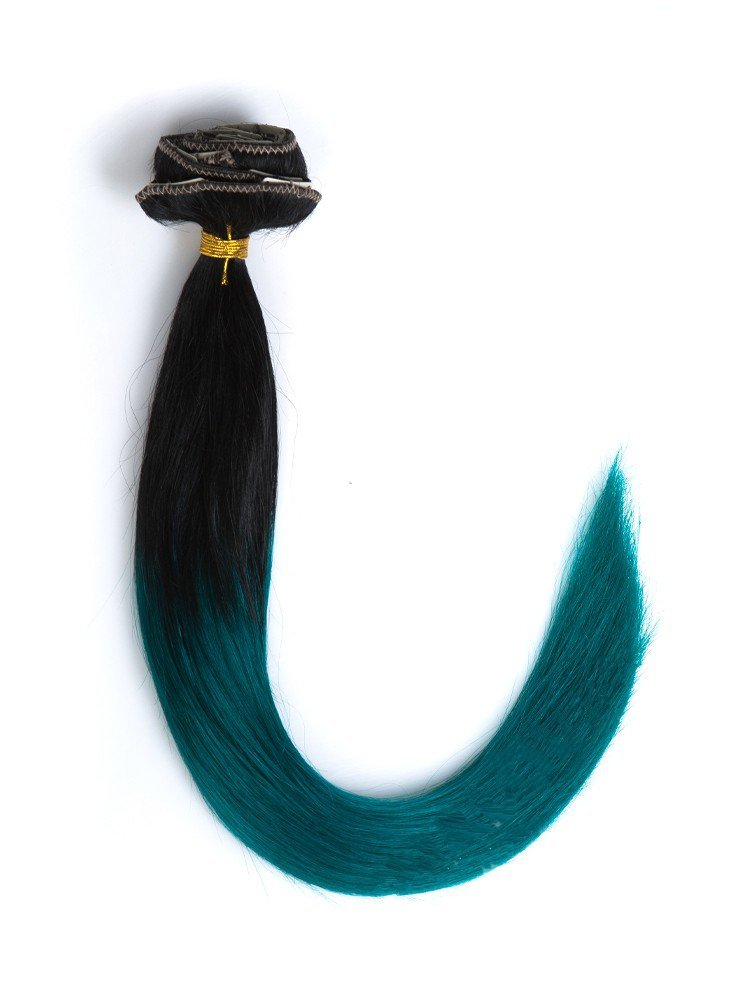 Cheap Clip In Black To Emerald Colorful Ombre Hair Extensions VGE09003