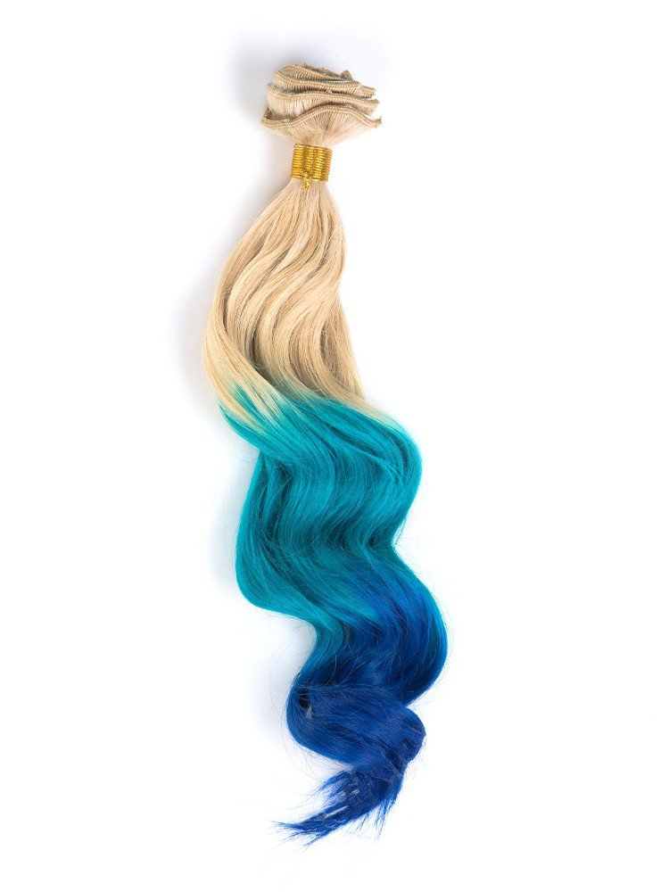 Clip In Blonde To Bright Blue To Royal Blue Ombre Hair Extension VGE09004