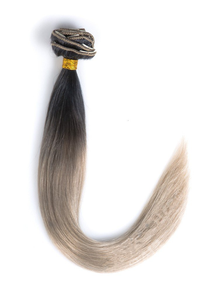 Clip In Black To Light Ash Brown Hair Extensions VGE09006