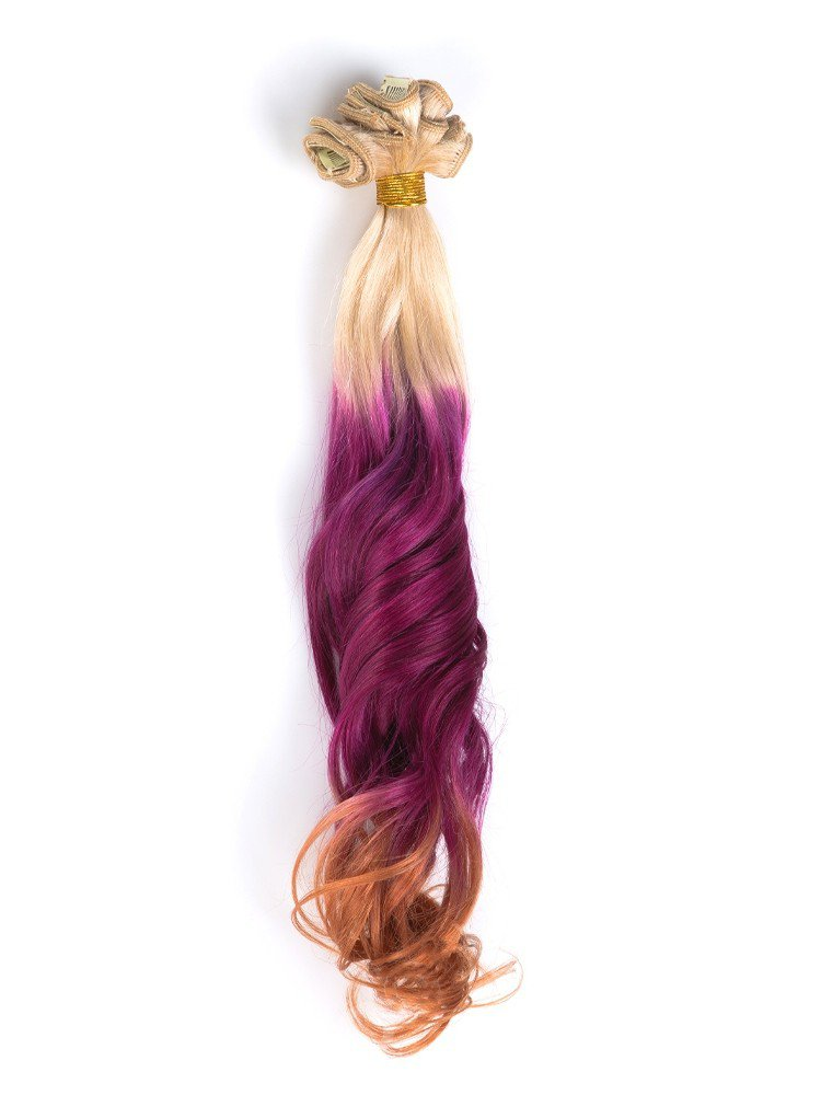 Indian Remy Hair Blonde To Fuchsia To Auburn Colorful Clip In Hair Extensions VGE09010