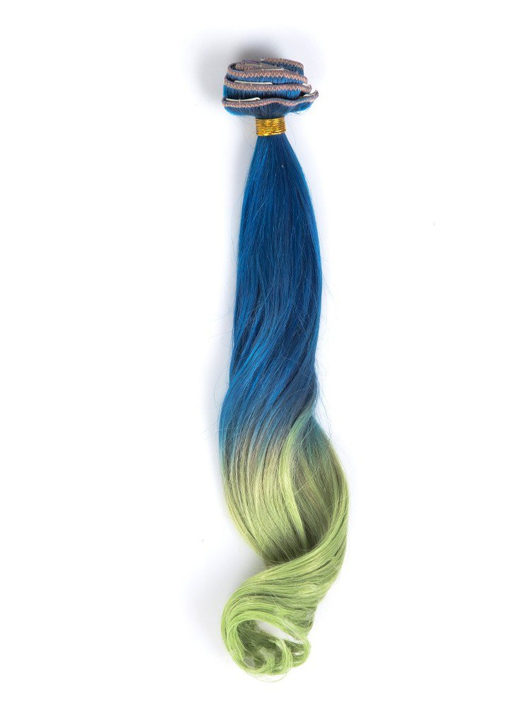 Indian Remy Blue To Neon_green Colorful Clip In Hair Extensions VGE09011