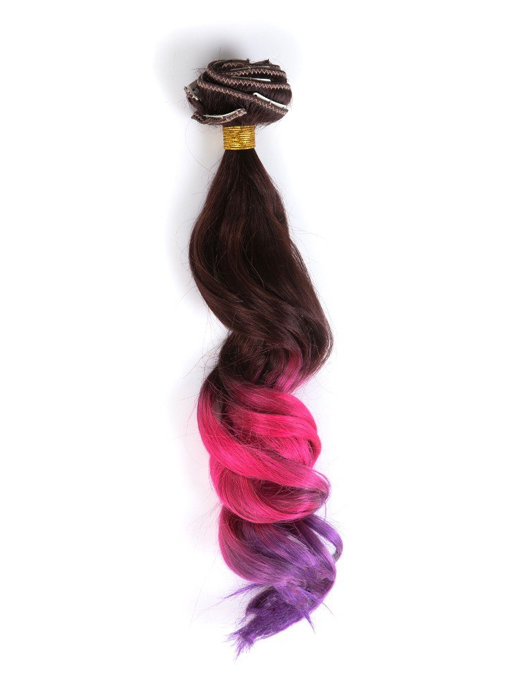 Clip In Brown To Magenta To Purple Colorful Ombre Hair Extensions VGE09012