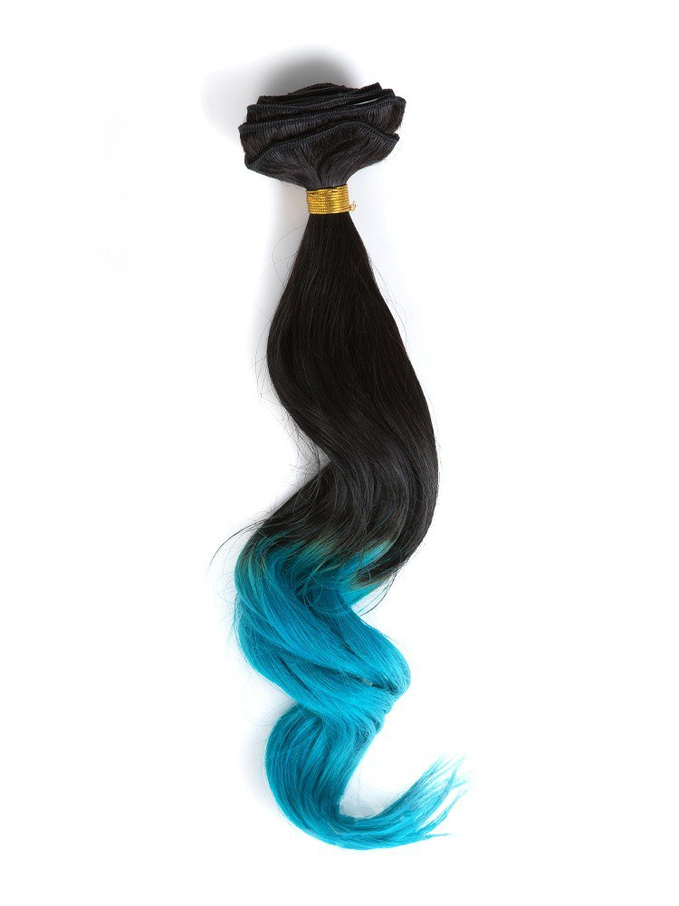 Clip In Black To Bright Blue Colorful Ombre Hair Extensions VGE09014