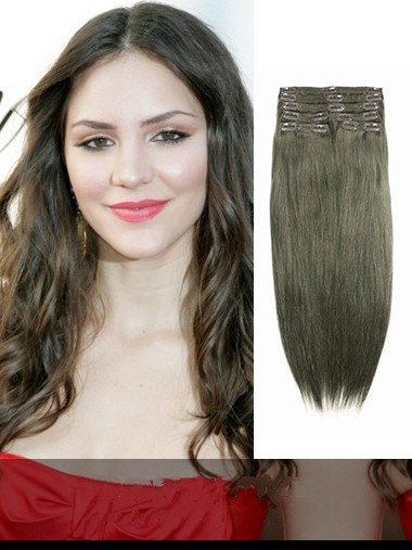 Indian Remy Medium Ash Brown Clip In Hair Extensions VGE10014