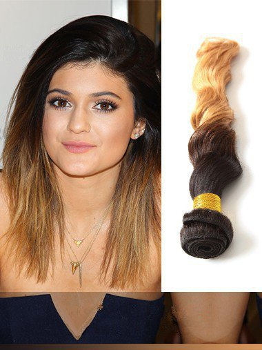 Indian Remy Black To Blonde Ombre Clip In Hair Extensions VGE11003