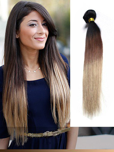 Indian Remy Black To Brown To Blonde Ombre Clip In Hair Extensions VGE11004