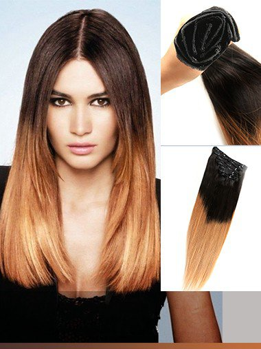 Indian Remy Black To Copper Ombre Clip In Hair Extensions VGE11007
