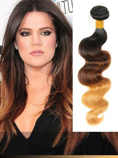 Indian Remy Black To Brown To Copper Ombre Clip In Hair Extensions VGE11009