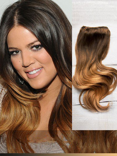 Indian Remy Black To Auburn Ombre Clip In Hair Extensions VGE11012