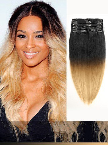 Clip in hair extensionsombrebalayage indian remy black to indian remy black to blonde ombre clip in hair extensions vge11014 pmusecretfo Images