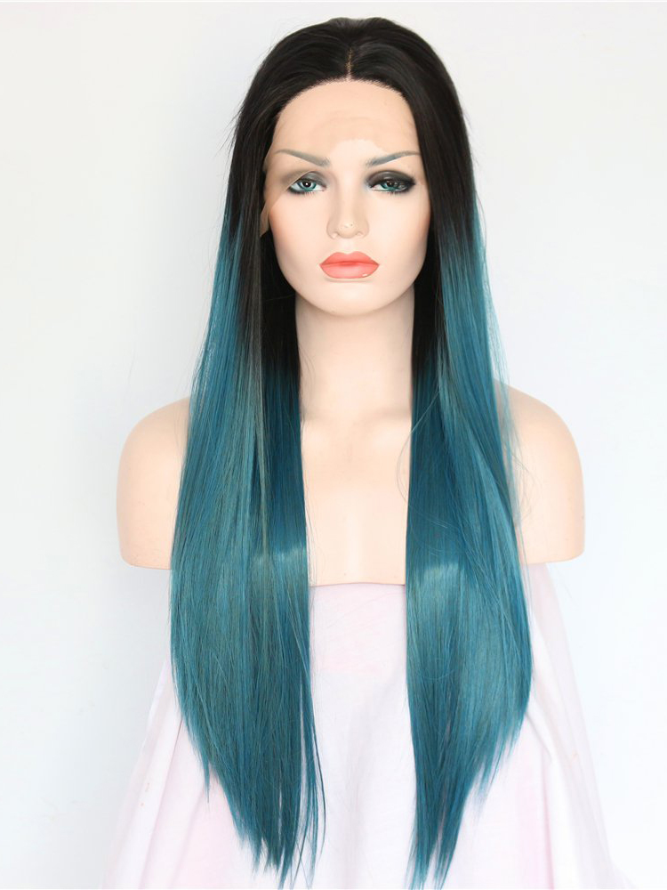 """Black To Emerald Ombre 26"""" Synthetic Wigs Lace Front Wigs VGW05013"""