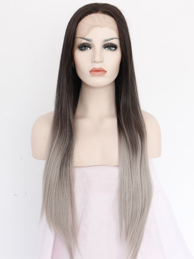 "Brown To Platinum Ombre 26"" Synthetic Wigs Lace Front Wigs VGW05017"