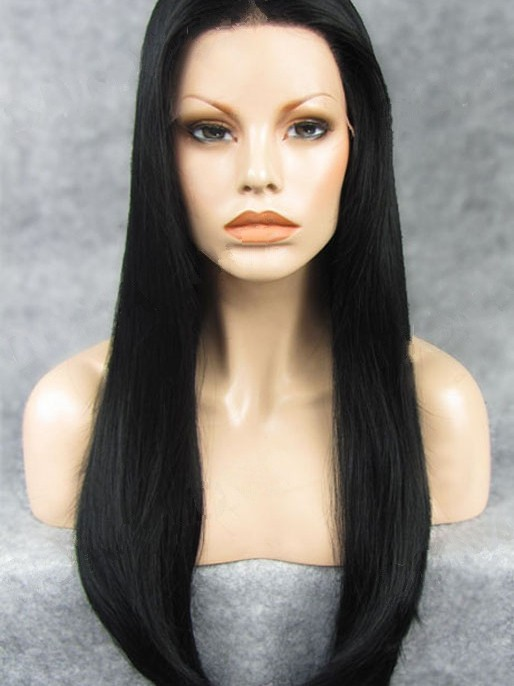 "Black 24"" Synthetic Wigs Lace Front Wigs VGW05018"