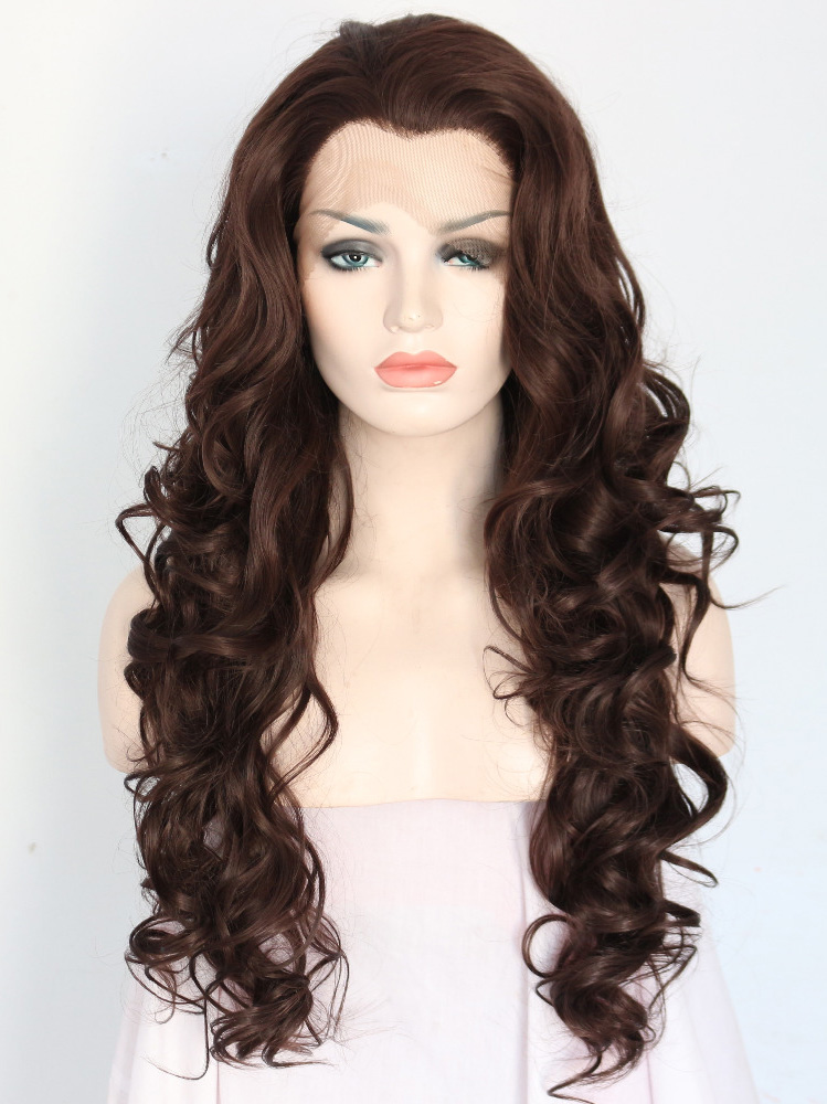 "Mid Brown 24"" Synthetic Wigs Lace Front Wigs VGW05019"