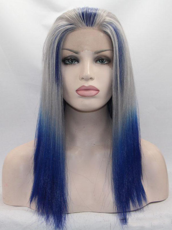 "Silver With Dark Royal Blue 14"" Synthetic Wigs Lace Front Wigs VGW05020"