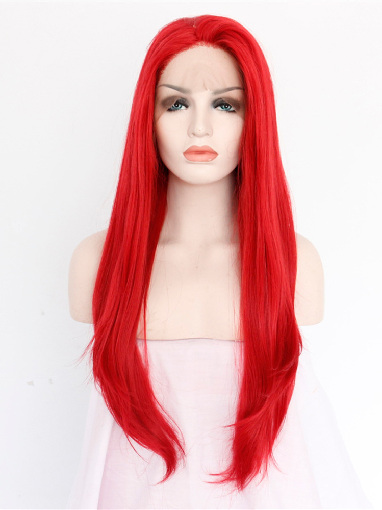 "Fire Red 24"" Synthetic Wigs Lace Front Wigs VGW05024"