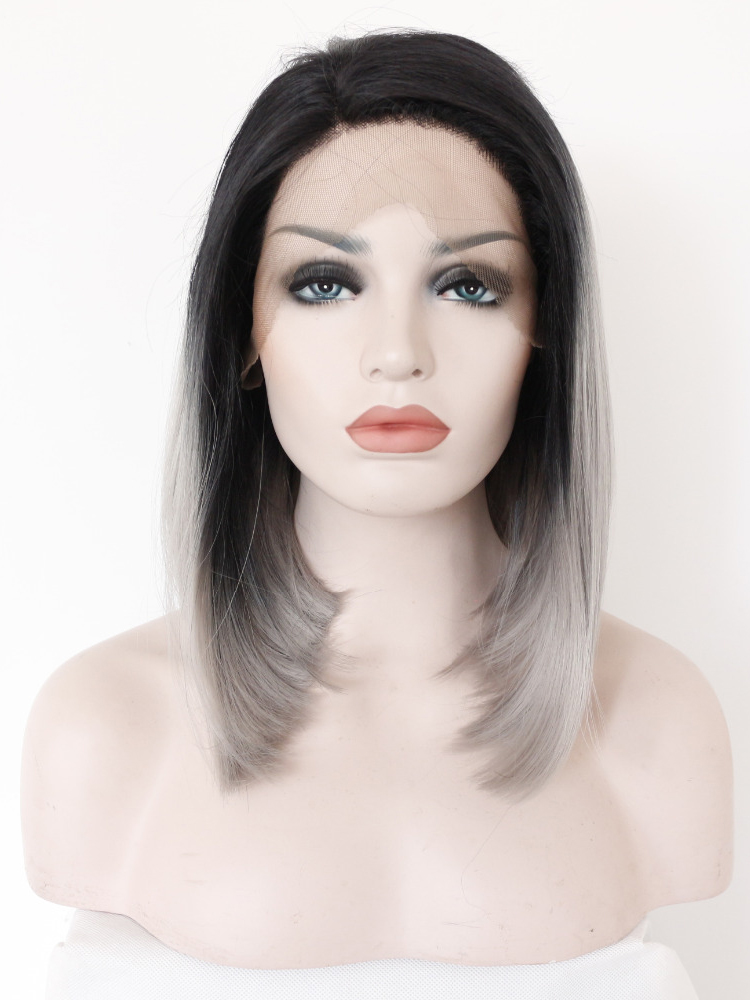 "Shoulder Length Straight Black To Silver 14"" Lace Front Wigs VGW05025"