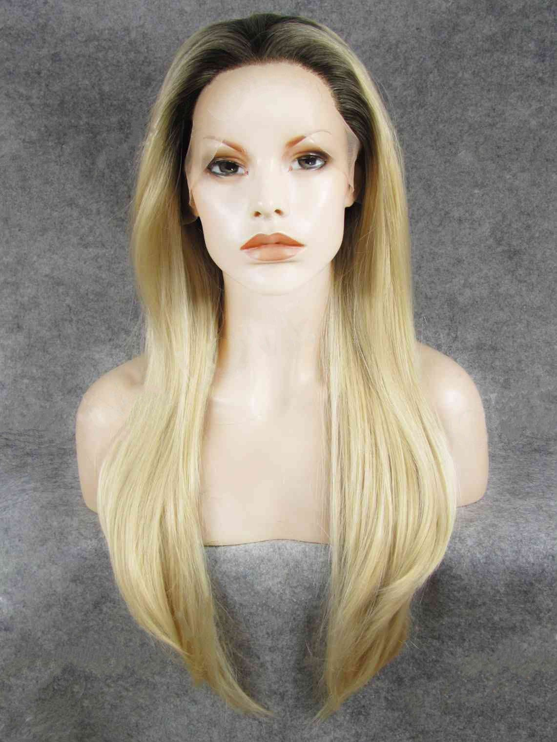 "Long Straight Black To Blonde 24"" Lace Front Wigs VGW05027"