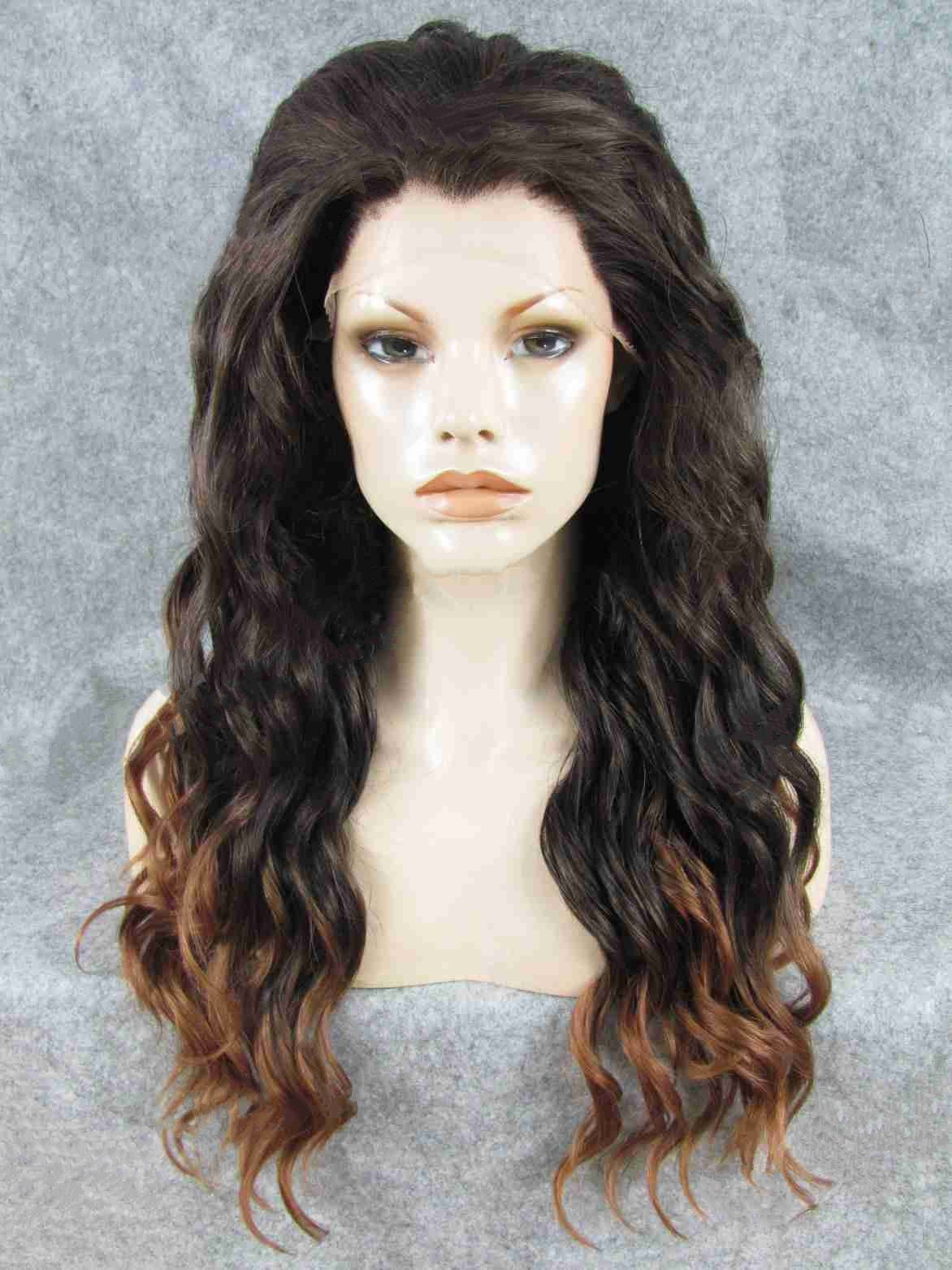 "Long Wavy Black To Brown Ombre 24"" Lace Front Wigs VGW05029"