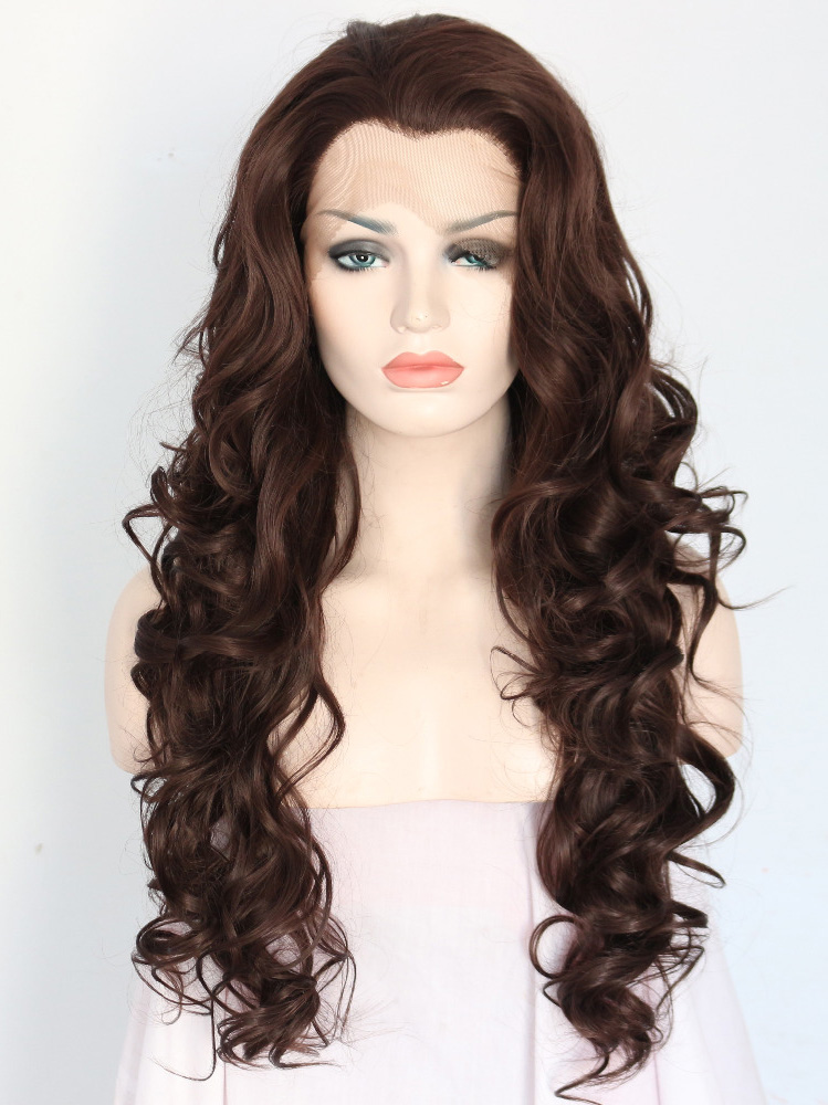 "Long Curly Auburn 26"" Lace Front Wigs VGW05030"