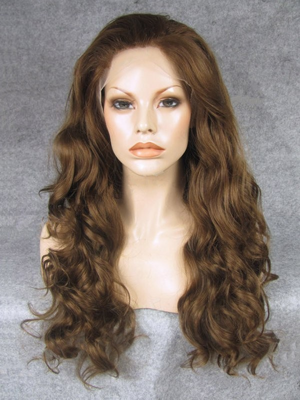 "Long Wavy Light Brown 24"" Lace Front Wigs VGW05031"