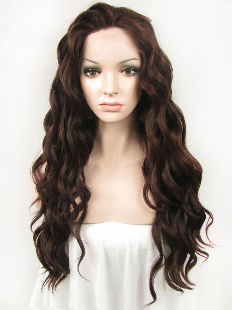 """Long Wavy Auburn 24"""" Lace Front Wigs VGW05033"""