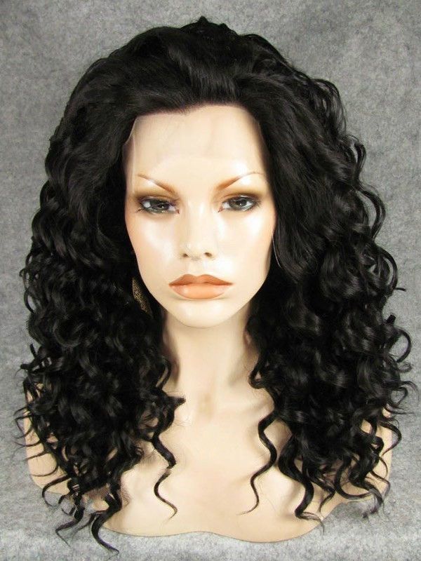 "Long Curly Black 20"" Lace Front Wigs VGW05034"