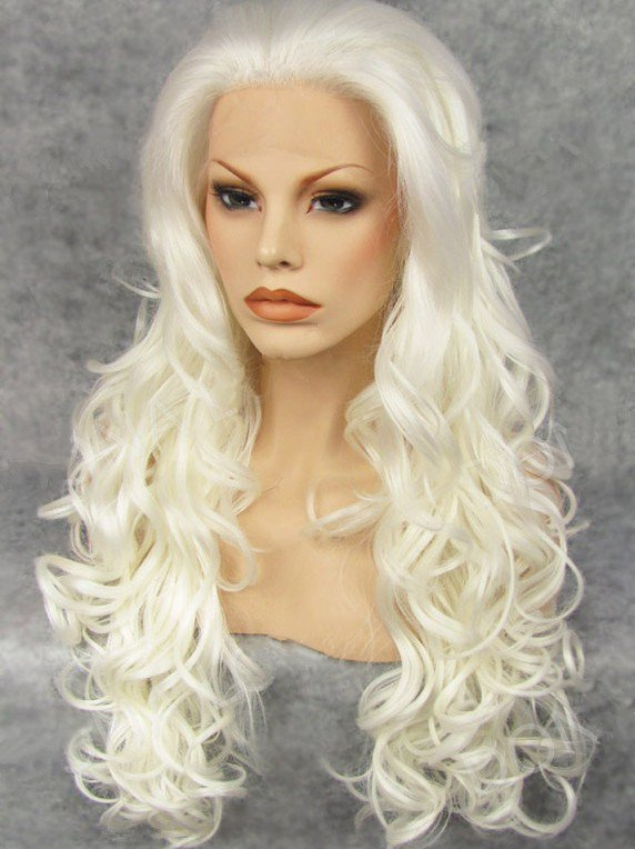 "Long Curly White 26"" Lace Front Wigs VGW05035"