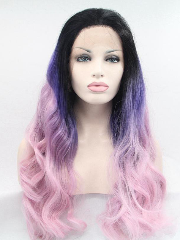"Long Wavy Black To Regency To Skin Pink 26"" Lace Front Wigs VGW05036"