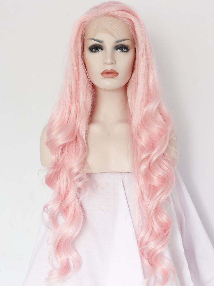 """Long Wavy Pink Colorful 26"""" Lace Front Wigs VGW05037"""