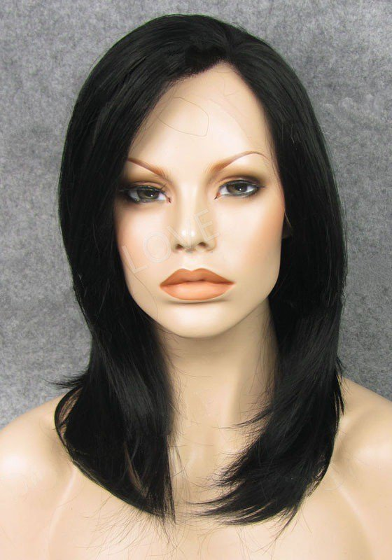 "Shoulder Length Straight Jet Black 14"" Lace Front Wigs VGW05038"