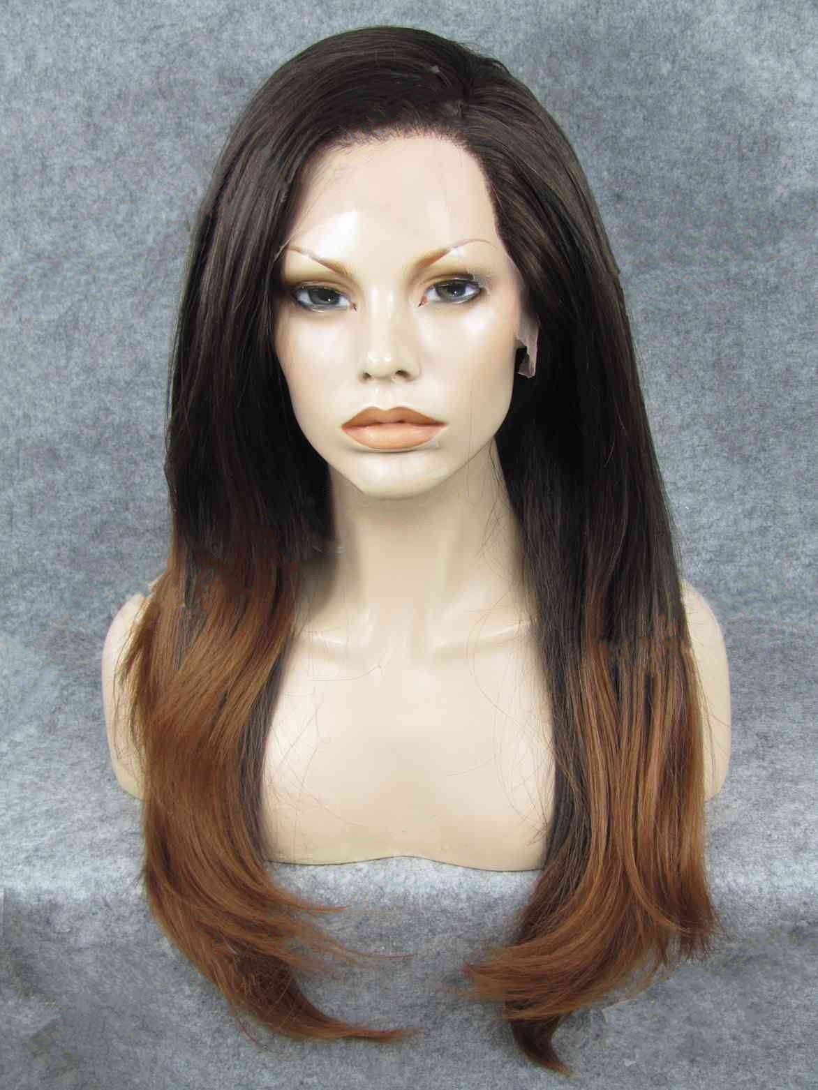 "Long Straight Black To Brown 24"" Lace Front Wigs VGW05039"