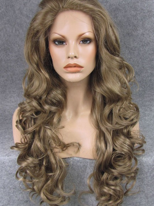 "Long Curly Brown 26"" Lace Front Wigs VGW05040"