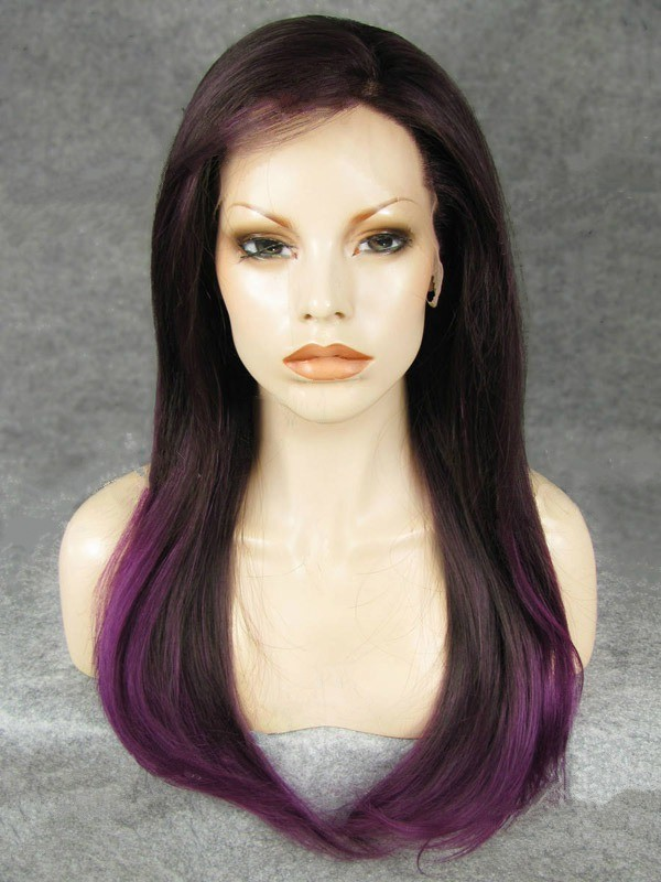 "Long Straight Grape To Fuchsia Ombre 24"" Lace Front Wigs VGW05041"