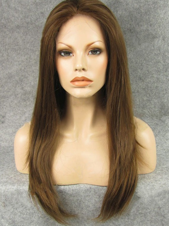 "Long Straight Reddish Brown 24"" Lace Front Wigs VGW05042"