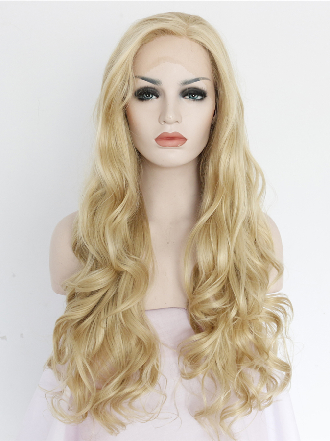 "Long Wavy Blonde 24"" Lace Front Wigs VGW05043"