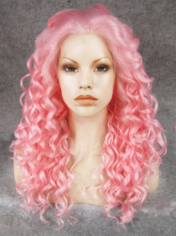 "Long Curly Hot Pink Colorful 20"" Lace Front Wigs VGW05044"