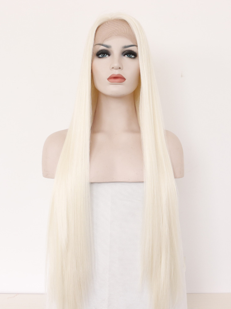 "Long Straight Platinum 26"" Lace Front Wigs VGW05045"